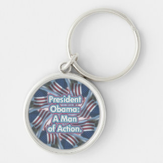 President Obama Action Man  Keychain