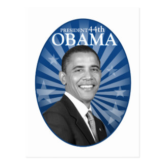 president obama blue bw postcard