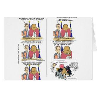 President Obama & Bo Show Emotion Funny Card