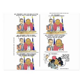 President Obama & Bo Show Emotion Funny Postcard