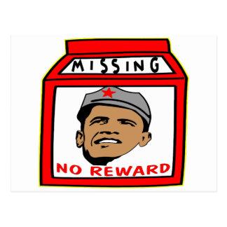 President Obama Missing No Reward Postcard