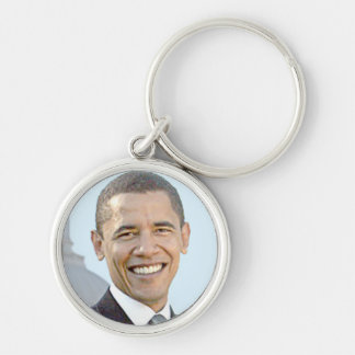 President Obama Silver-Colored Round Key Ring