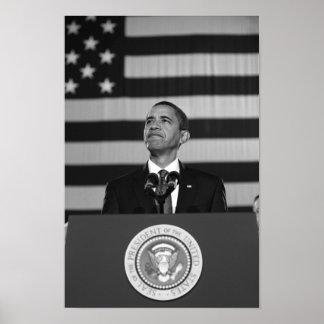 President Obama Speaking - American Flag Poster