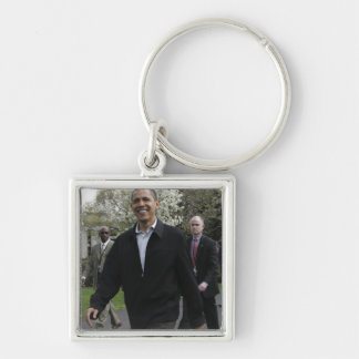 President Obama walks to the basketball courst Keychain