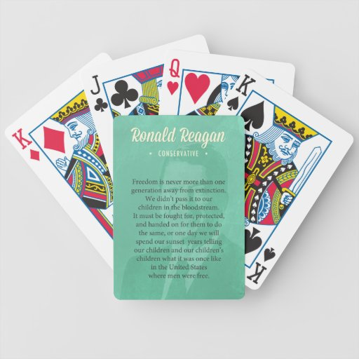 President Ronald Reagan Quote Bicycle Poker Cards