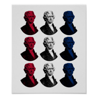 President Thomas Jefferson - Red, White, and Blue Poster