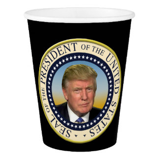 President Trump Photo Presidential Seal Paper Cup