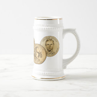 Presidential Coin White and Gold Stein Beer Steins