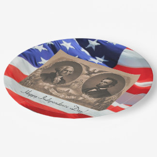 Presidents Abraham Lincoln and George Washington Paper Plate
