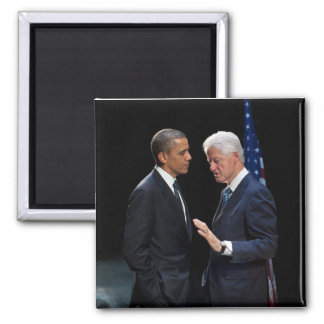 Presidents Barack Obama & Bill Clinton Square Magnet