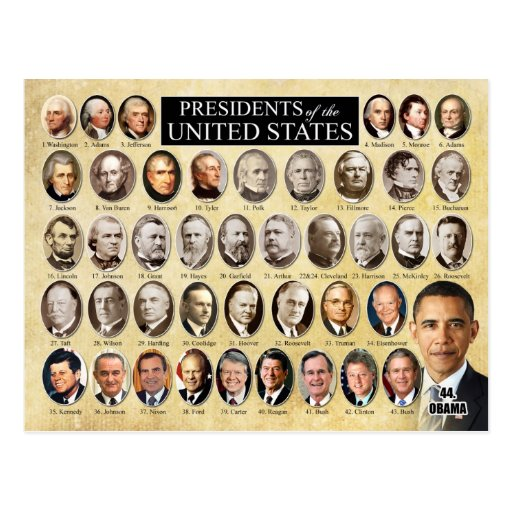 Presidents of the united states of america postcard zazzle for Pictures of all presidents of the united states in order