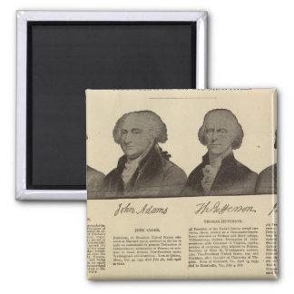 Presidents US, autographs, biographies 2 Square Magnet