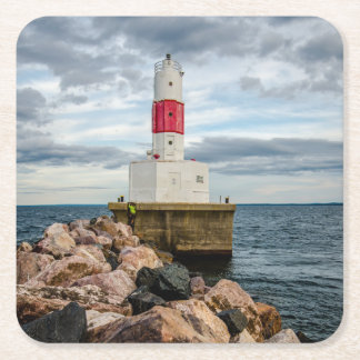 Presque Isle Harbor Breakwater Lighthouse Square Paper Coaster