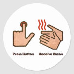 press button receive bacon round stickers