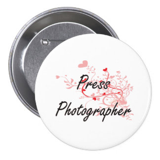 Press Photographer Artistic Job Design with Hearts 7.5 Cm Round Badge