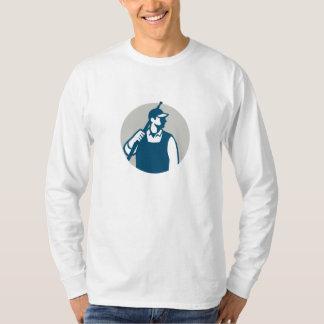 Pressure Washer Worker Circle Retro T-Shirt