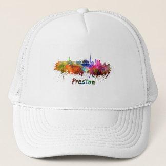 Preston skyline in watercolor trucker hat