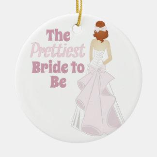 Prettiest Bride Round Ceramic Decoration