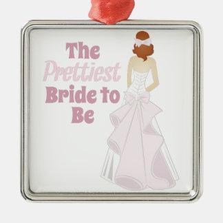Prettiest Bride Silver-Colored Square Decoration