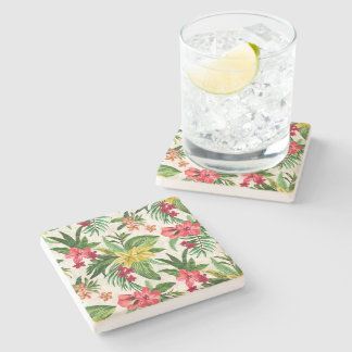 Prettily Colorful Exotic Flowers Stone Coaster