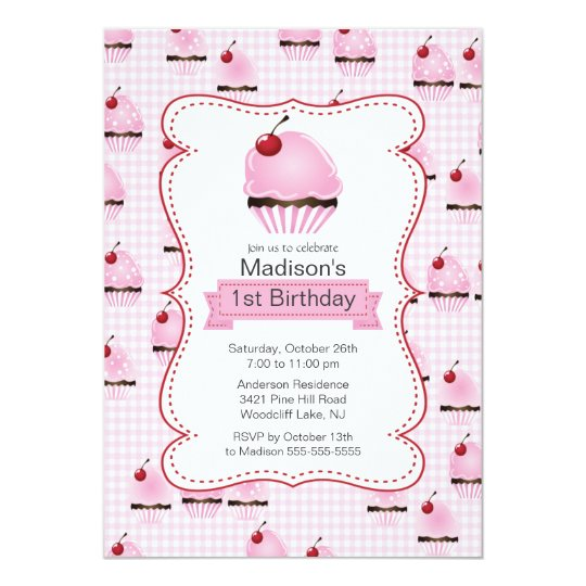 Pretty 1st Birthday Cupcake Birthday Party Card