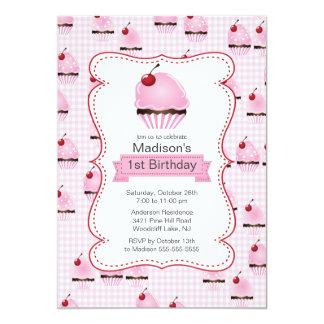 "Pretty 1st Birthday Cupcake Birthday Party 5"" X 7"" Invitation Card"