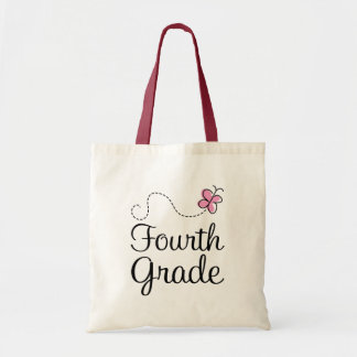 Pretty 4th Grade Pink Butterfly Budget Tote Bag