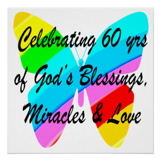 PRETTY 60TH BIRTHDAY RAINBOW BUTTERFLY DESIGN POSTER