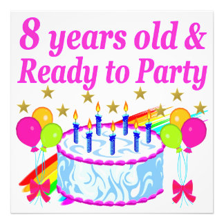 PRETTY 8TH BIRTHDAY PARTY CELEBRATION PHOTO PRINT