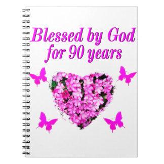 PRETTY 90TH BIRTHDAY FLORAL NOTEBOOK