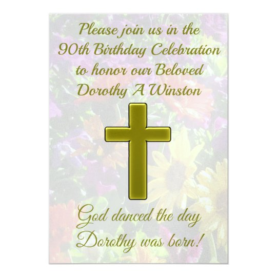 PRETTY 90TH BIRTHDAY GOLD FLORAL INVITATION