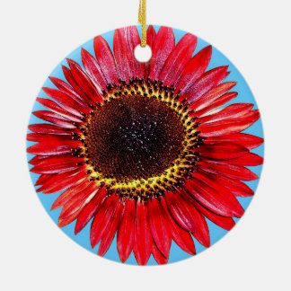 Pretty Abstract Autumn Beauty Sunflower on Blue Round Ceramic Decoration