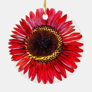Pretty Abstract Autumn Beauty Sunflower on White Round Ceramic Decoration