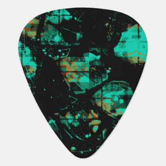 Pretty Abstract Black and Turquoise Design Guitar Pick
