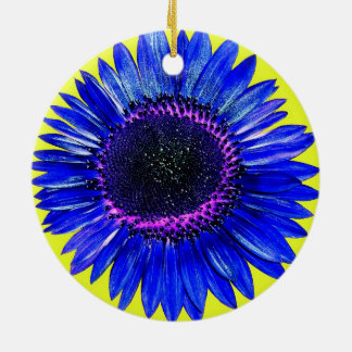 Pretty Abstract Blue Autumn Beauty Sunflower Round Ceramic Decoration