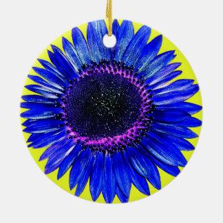 Pretty Abstract Blue Autumn Beauty Sunflower Round Ceramic Decoration