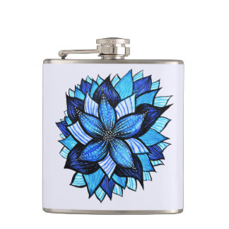 Pretty Abstract Blue Mandala Like Flower Drawing Hip Flask