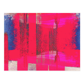 Pretty Abstract Hot Pink Blue Grunge Gold Streaks Postcard