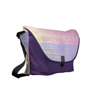 Pretty Abstract in Pale Pink and Yellow Messenger Bags