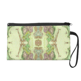 Pretty Abstract in Yellow, Lime, and Pink Wristlet
