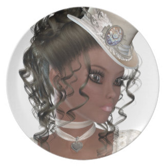 Pretty African American Woman Dinner Plate