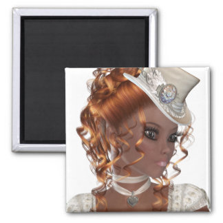 Pretty African American Woman Square Magnet