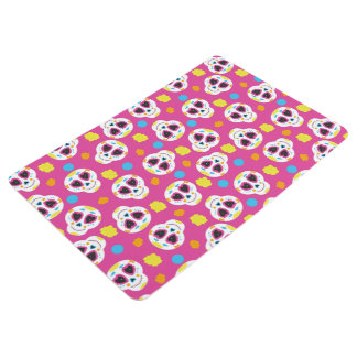 Pretty and Cute Sugar Skulls on Pink Floor Mat