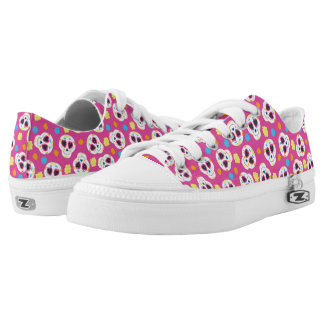Pretty and Cute Sugar Skulls on Pink Low Tops