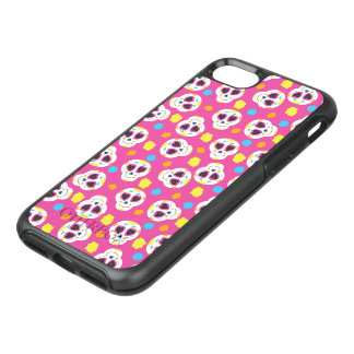 Pretty and Cute Sugar Skulls on Pink OtterBox Symmetry iPhone 8/7 Case