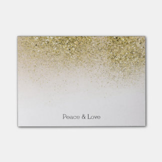 Pretty and Glittery Gold Peace Love Post-it® Notes