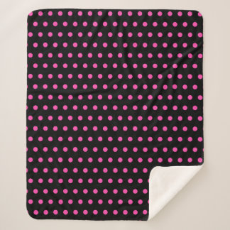 Pretty and Stylish Hot Pink and Black Polka Dot Sherpa Blanket