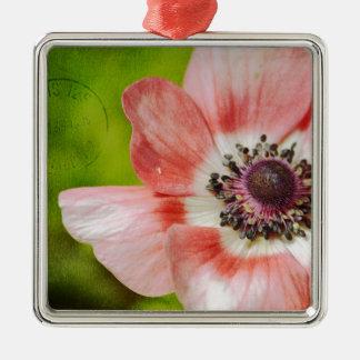 Pretty Anemone Flower Pink Silver-Colored Square Decoration