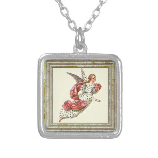 Pretty Angel In Pink Silver Plated Necklace