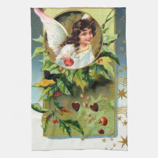 Pretty Angel With Holly Tea Towel